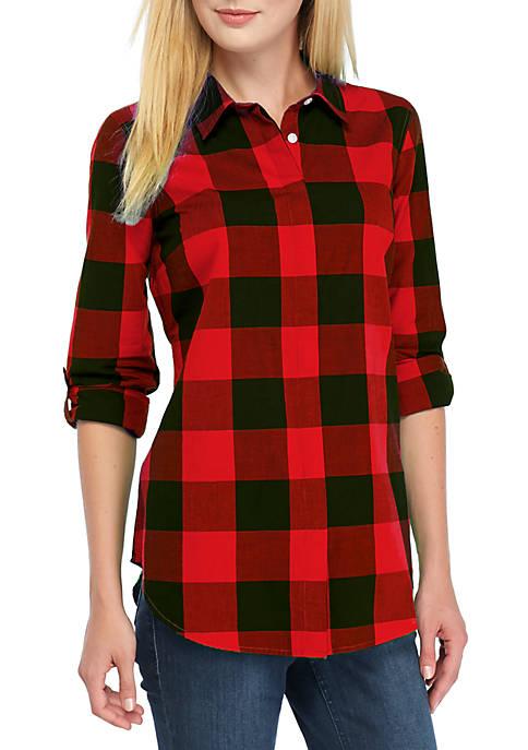 Crown & Ivy™ Long Sleeve Plaid Tunic