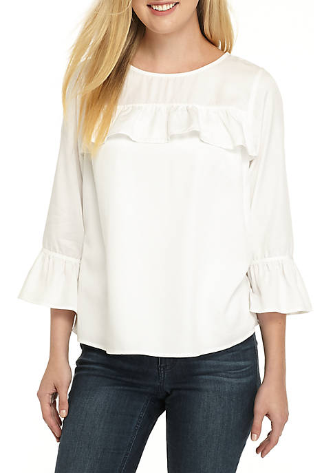 Crown & Ivy™ Tencel Ruffle Top