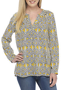 Long Sleeve Printed Crepe Tunic