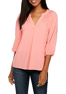 Three-Quarter Sleeve Solid Peasant Top