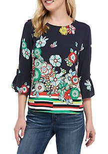 Crown & Ivy™ 3/4 Ruffle Sleeve Print Top