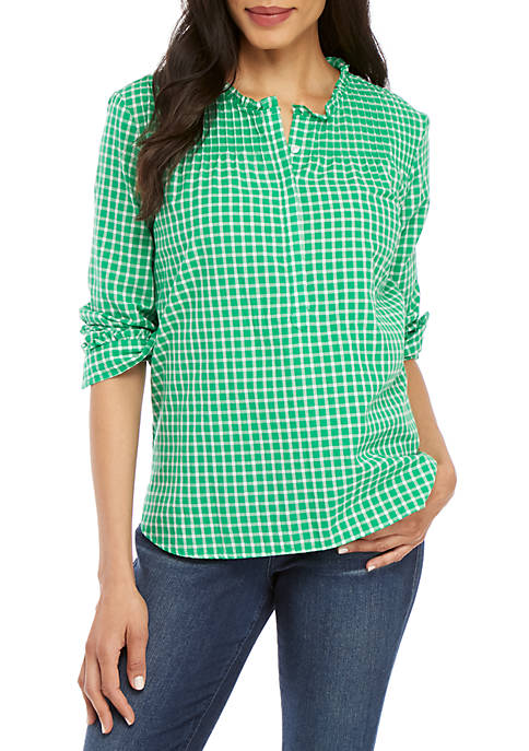 Long Sleeve 1/4 Button Up Top
