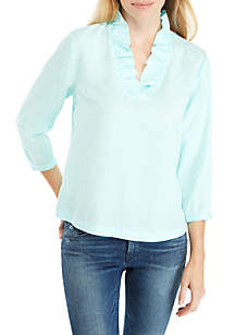 109490f2745 ... Crown   Ivy™ 3 4 Sleeve Ruffle Neck Solid Top