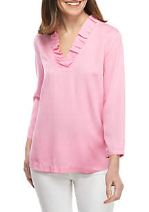 8ec97813220 ... Crown   Ivy™ 3 4 Sleeve Ruffle Neck Solid Top
