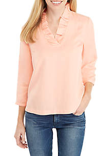 3/4 Sleeve Ruffle Neck Solid Top