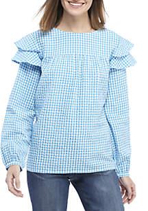 Crown & Ivy™ Ruffle Shoulder Woven Top