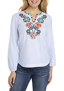 Long Sleeve Stripe Embroidered Yoke Blouse