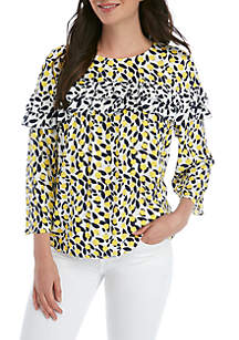 Crown & Ivy™ Ruffle Tier Twin Print Blouse