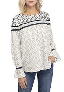 Long Sleeve Mixed Texture Peasant Top