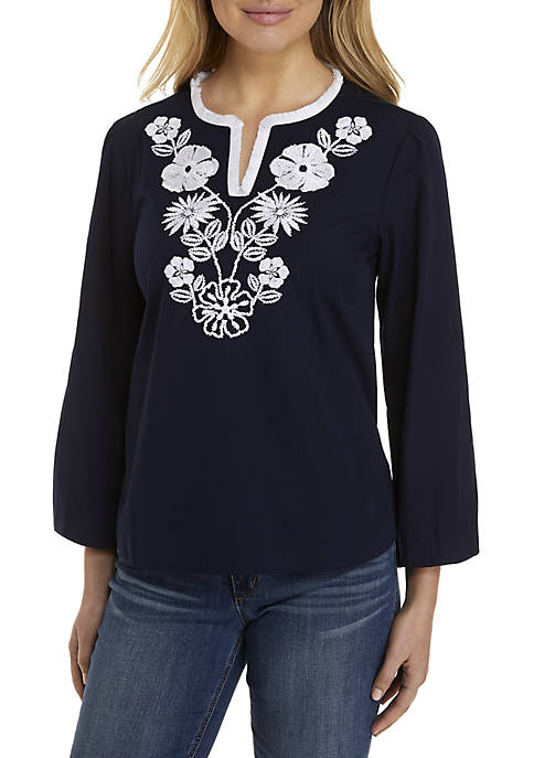 Long Sleeve Solid Embroidered Yoke Blouse