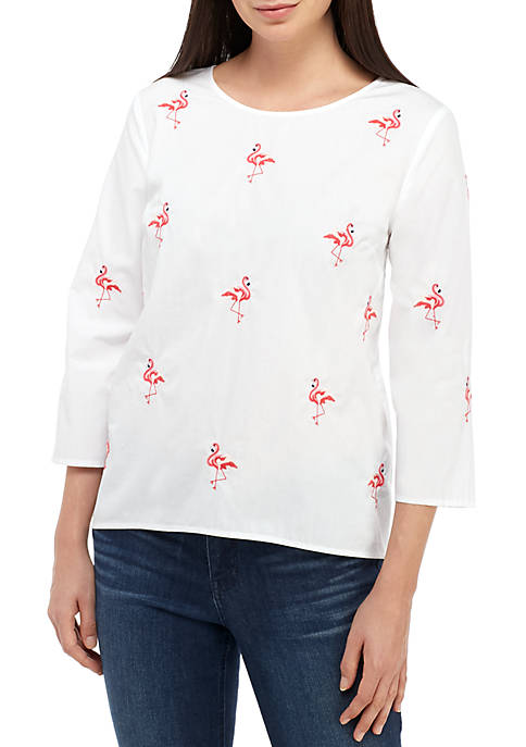 Crown & Ivy™ Embroidered Woven Top
