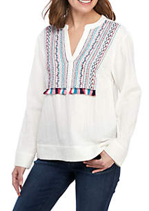Crown & Ivy™ Long Sleeve Embroidered Thread Top