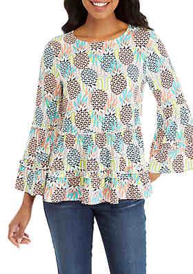 3049e2e0fcd Crown   Ivy™ Long Flare Sleeve Ruffle Peasant Print ...
