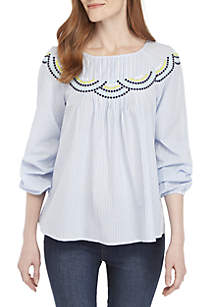 3/4 Sleeve Scallop Embroidered Top