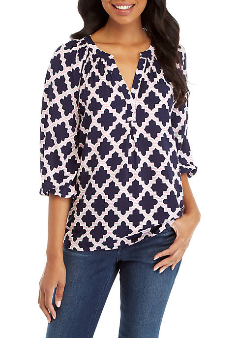73b8b48ac9dd Crown   Ivy™ 3 4 Sleeve Print Peasant Top