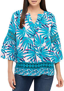 bc95a9ecb4b ... Crown   Ivy™ 3 4 Bell Sleeve Print Peasant Top