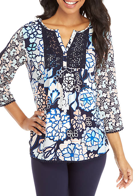 Long Sleeve Peasant Print Top