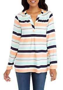 3/4 Sleeve Print Tunic Peasant Top
