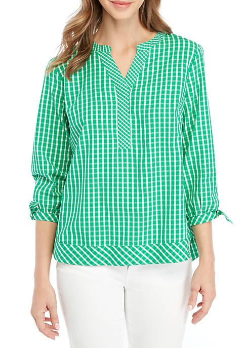 Crown & Ivy™ 3/4 Sleeve Gingham Top