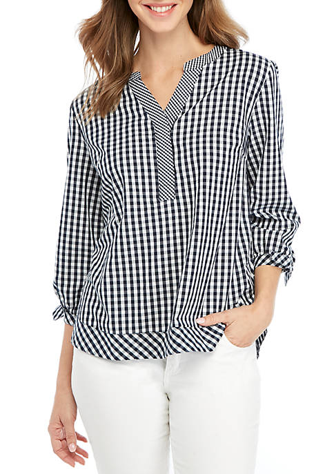 Crown & Ivy™ 3/4 Sleeve Gingham Top