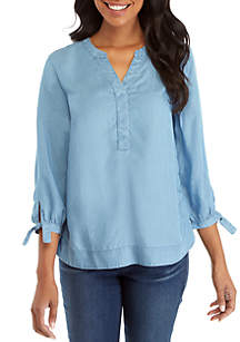 Crown & Ivy™ Woven Bow Sleeve Tunic