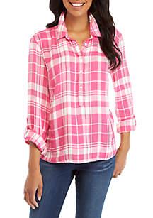 Long Roll-Tab Sleeve Plaid Shirt