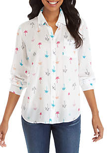 Crown & Ivy™ Long Sleeve Print Button Up Shirt