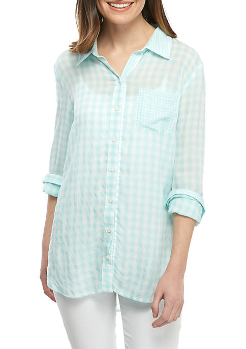 Crown & Ivy™ Long Sleeve Gingham Tunic