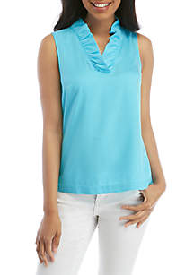 e5df795569381 ... Crown   Ivy™ Sleeveless Ruffle Neck Top