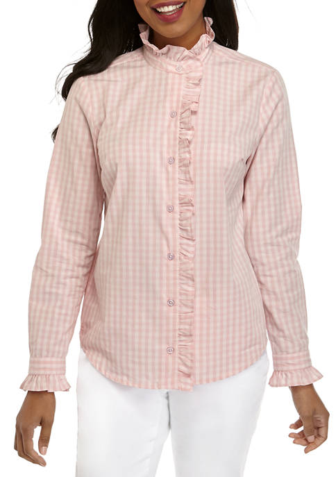Crown & Ivy™ Womens Long Sleeve Button Up