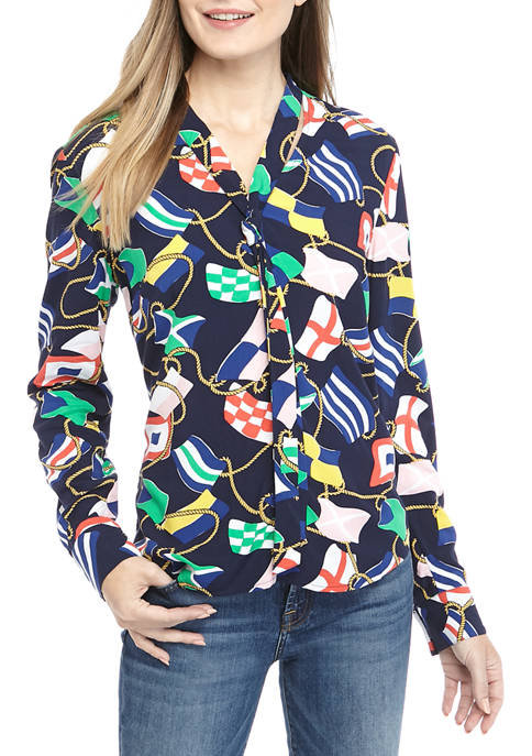 Crown & Ivy™ Womens Long Sleeve Tie Neck
