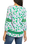 Womens 3/4 Sleeve Crochet Peasant Top