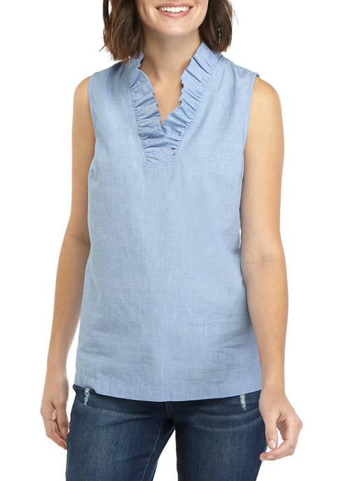 Womens Sleeveless Ruffle Neck Yarn Dye Top