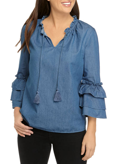 Crown & Ivy™ Womens 3/4 Layered Sleeve Split