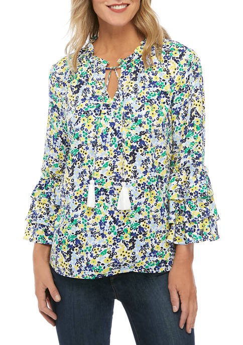 Crown & Ivy™ Womens Three-Quarter Sleeve Split Neck