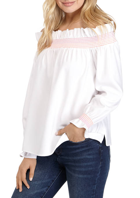 Crown & Ivy™ Womens Long Sleeve Smock Ruffle