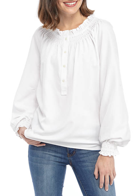 Crown & Ivy™ Womens Long Sleeve Smocked Ruffle