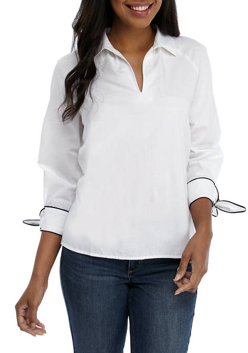 Crown & Ivy™ Womens Piping Sleeve Solid Blouse