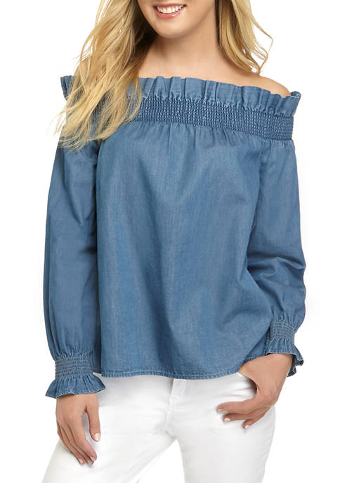 Crown & Ivy™ Womens Blouson Sleeve Smocked Ruffle