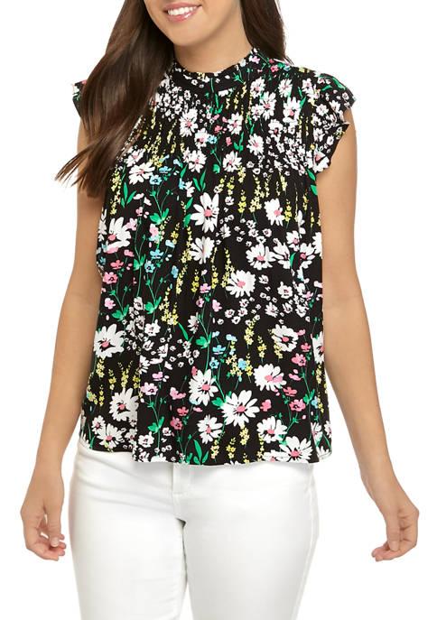 Crown & Ivy™ Womens Short Sleeve Smocked Ruffle