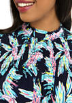 Womens Short Sleeve Smocked Ruffle Yoke Printed Shirt