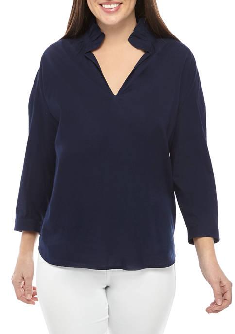 Womens Long Sleeve Ruffle Neck Top