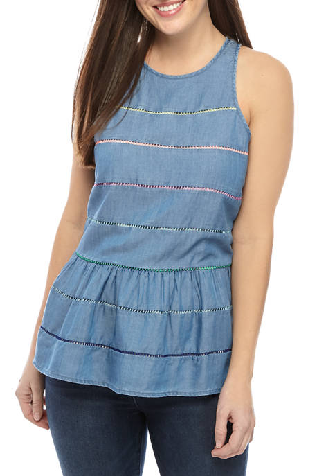 Crown & Ivy™ Womens Sleeveless Crochet Trim Tank