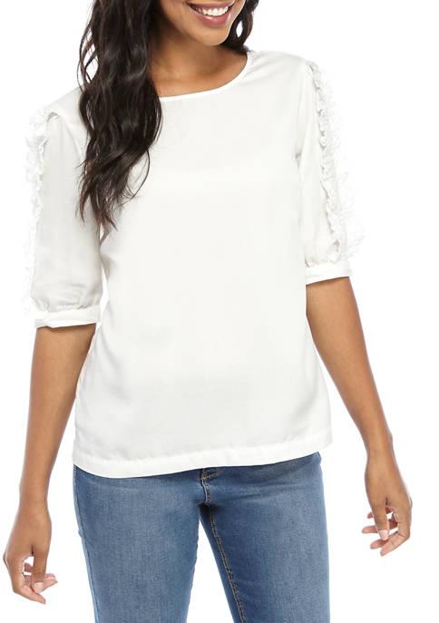 Crown & Ivy™ Womens Short Ruffle Sleeve Shirt