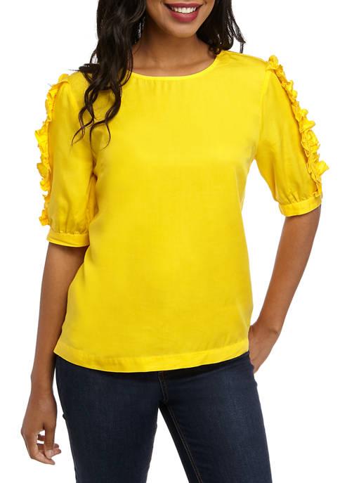 Womens Short Ruffle Sleeve Shirt
