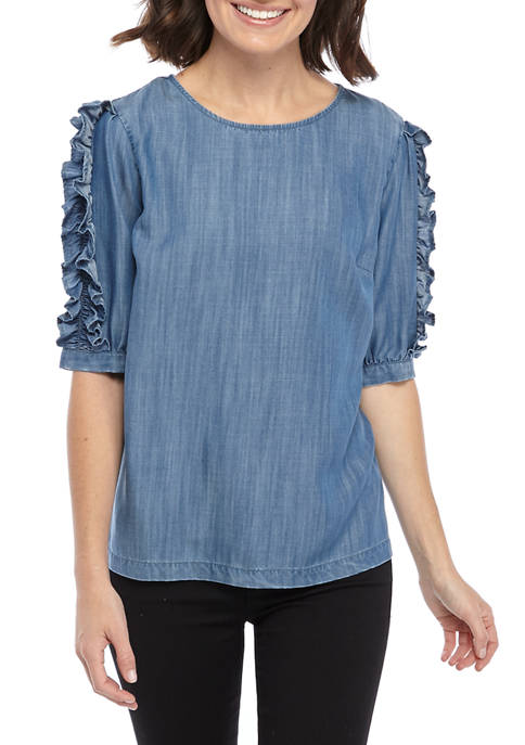 Crown & Ivy™ Womens Short Ruffle Sleeve Denim