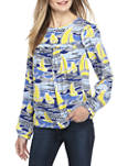 Womens Long Sleeve Ruffle Yoke Print Top