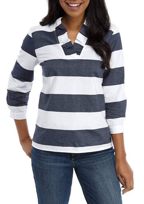 Crown & Ivy™ Womens 3/4 Sleeve Ruffle Neck