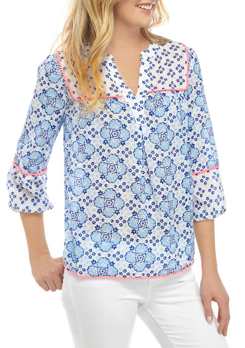 Crown & Ivy™ Womens 3/4 Sleeve Peasant Top