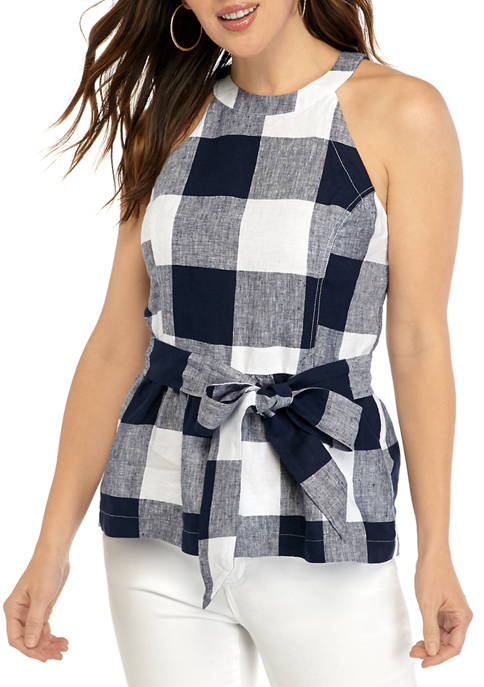 Crown & Ivy™ Womens Sleeveless Tie Waist Button